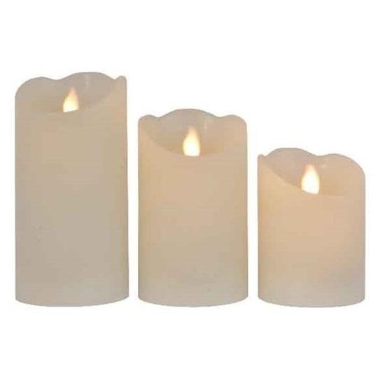 3x Creme witte nep kaarsen met led-lichtjes