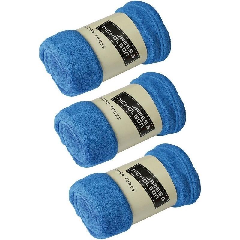 3x Fleece woondekens-woonplaids kobaltblauw 120 x 160 cm