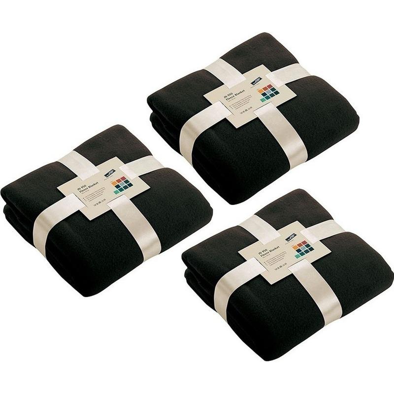 3x Fleece woondekens-woonplaids zwart 130 x 170 cm