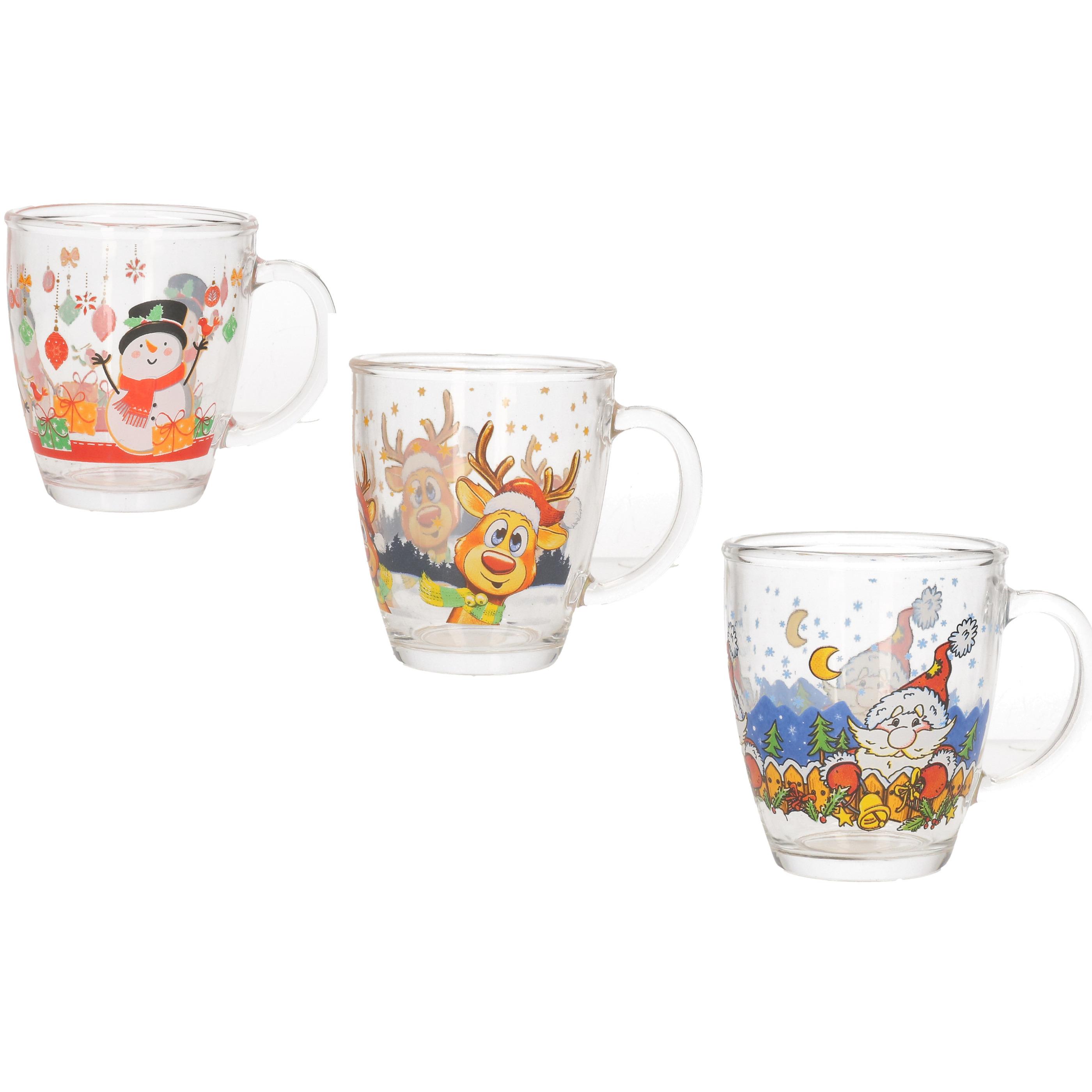 3x Glazen kerst mokken-bekers 300 ml Kinderbekers-kindermokken