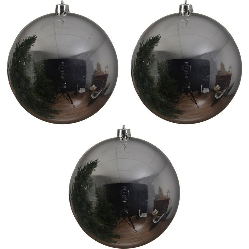 3x Grote raam-deur-kerstboom decoratie zilveren kerstballen 20 cm glans
