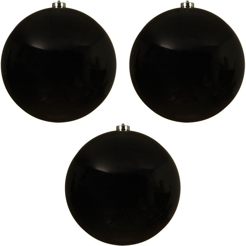 3x Grote raam-deur-kerstboom decoratie zwarte kerstballen 20 cm glans