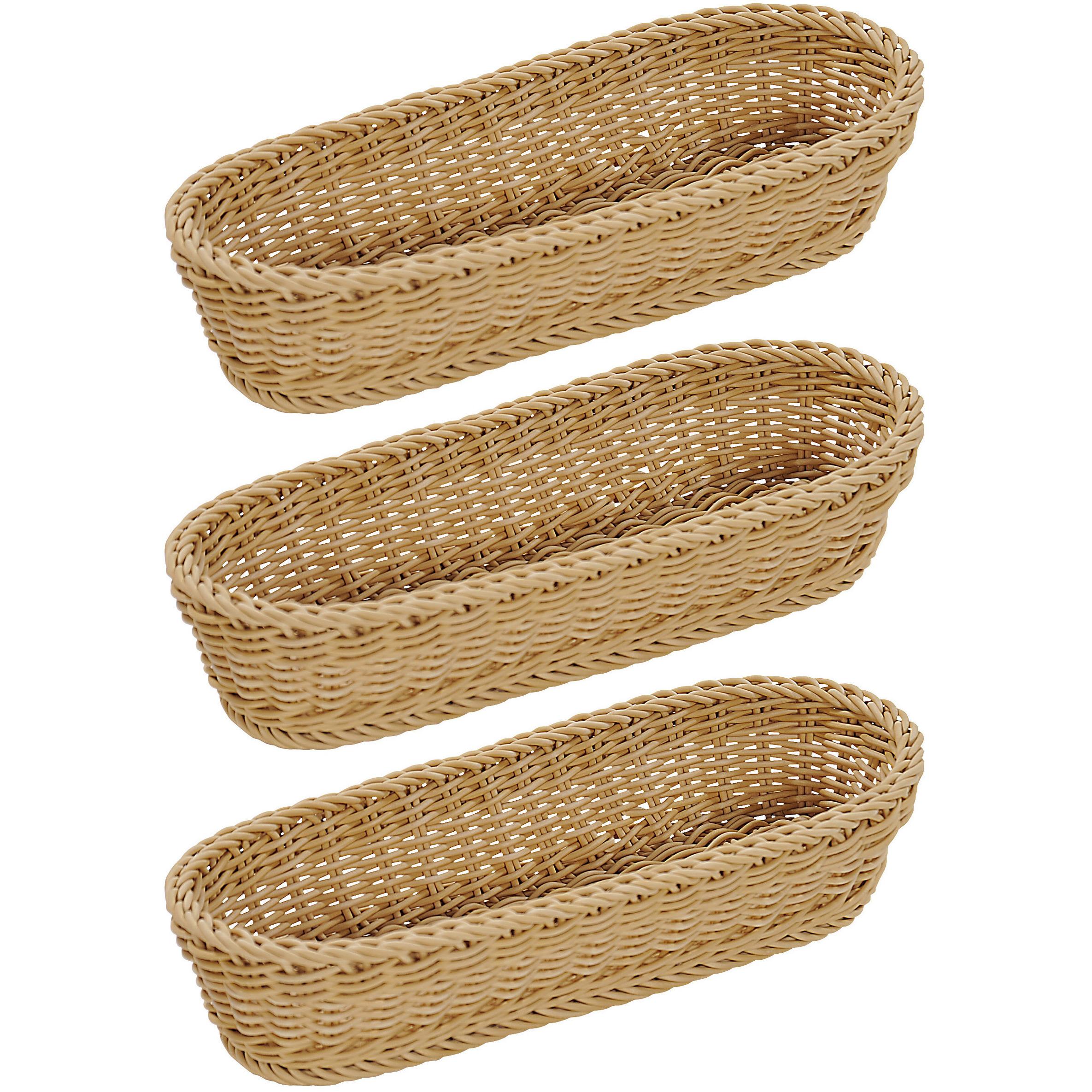 3x Langwerpig stokbroodmandje-broodmandje 41 x 16 x 7 cm gevlochten riet uiterlijk