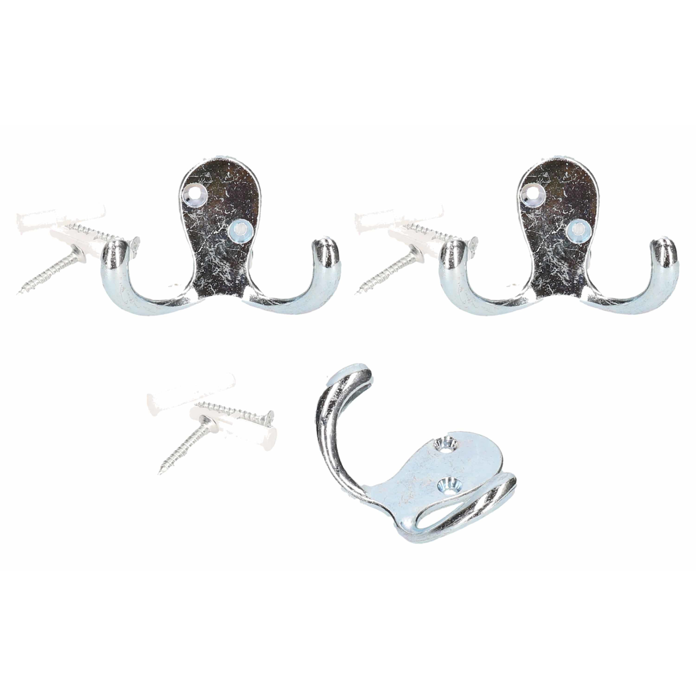 3x Metalen garderobehaken-kapstokhaken dubbele haak inc bevestigingsmateriaal