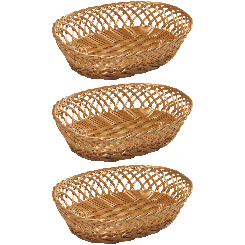 3x Ovalen fruitmandje-broodmandje 23,5 x 31 x 8,5 cm gevlochten riet uiterlijk