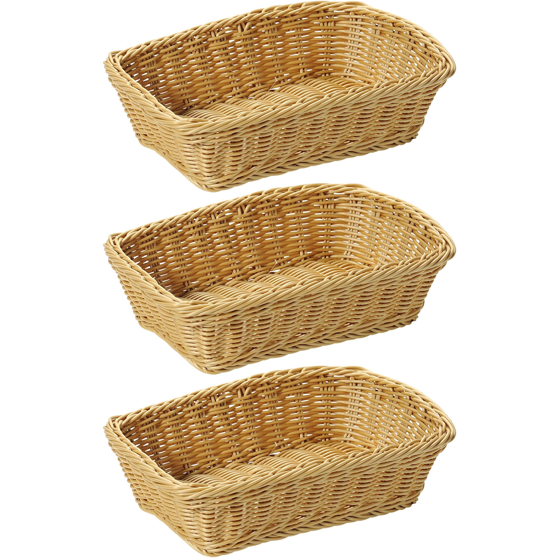 3x Rechthoekige fruitmandje-broodmandje 20 x 30 x 8,5 cm gevlochten riet uiterlijk