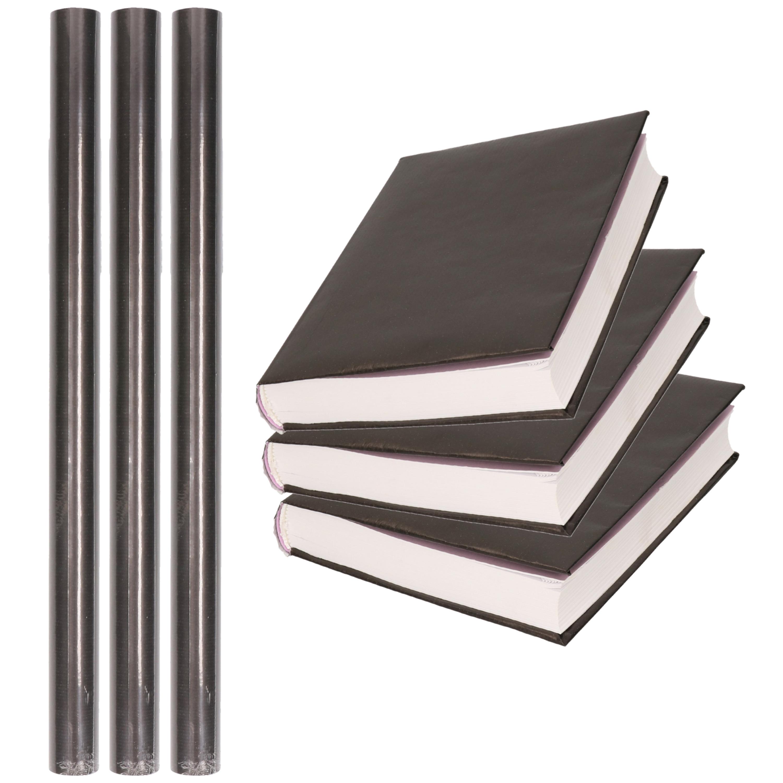 3x Rollen schoolboeken kaftpapier zwart 300 x 50 cm