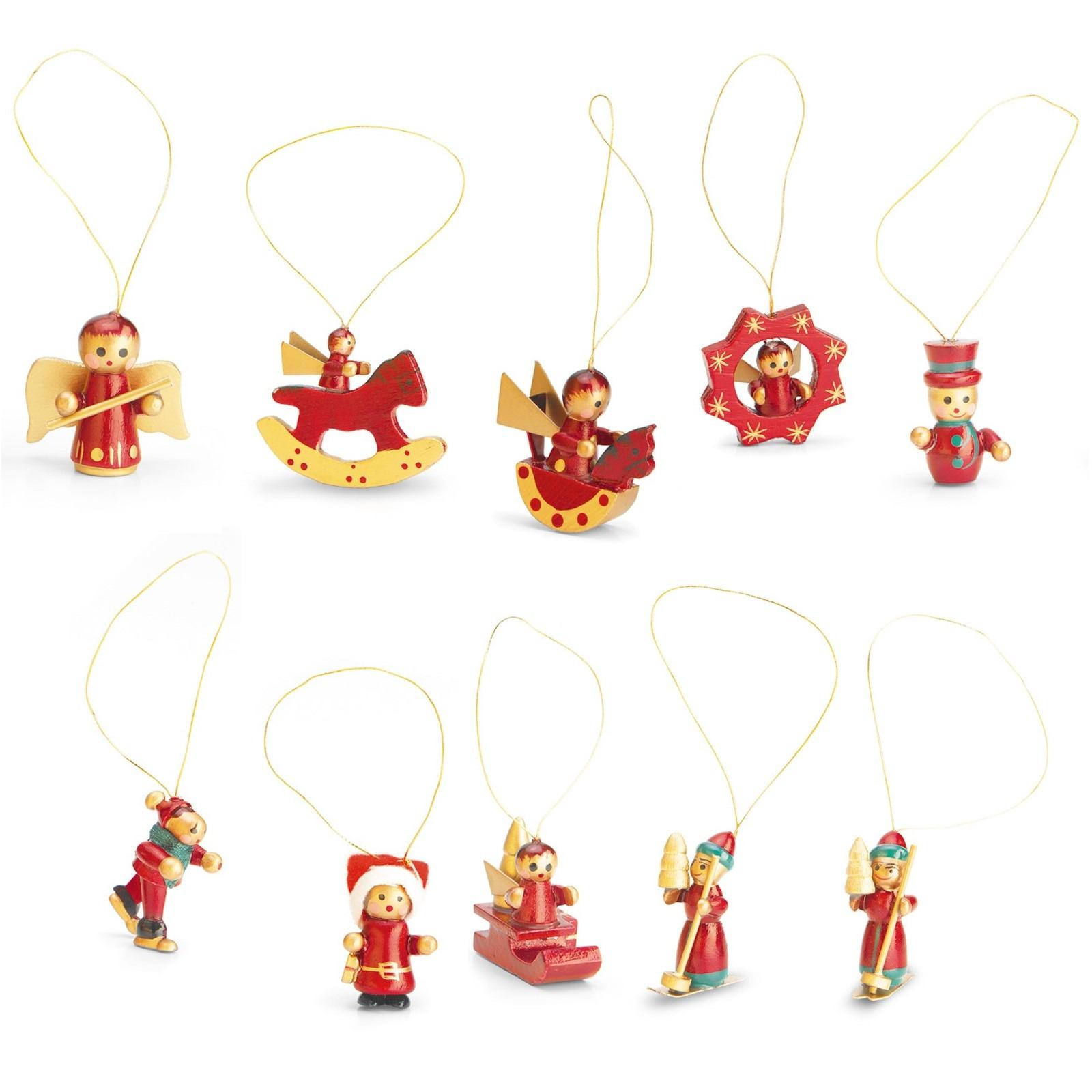 3x set houten kerst versiering 12 stuks voor een mini kerstboom