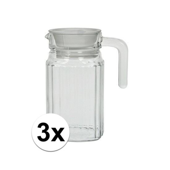 3x stuks glazen schenkkannen met handvat