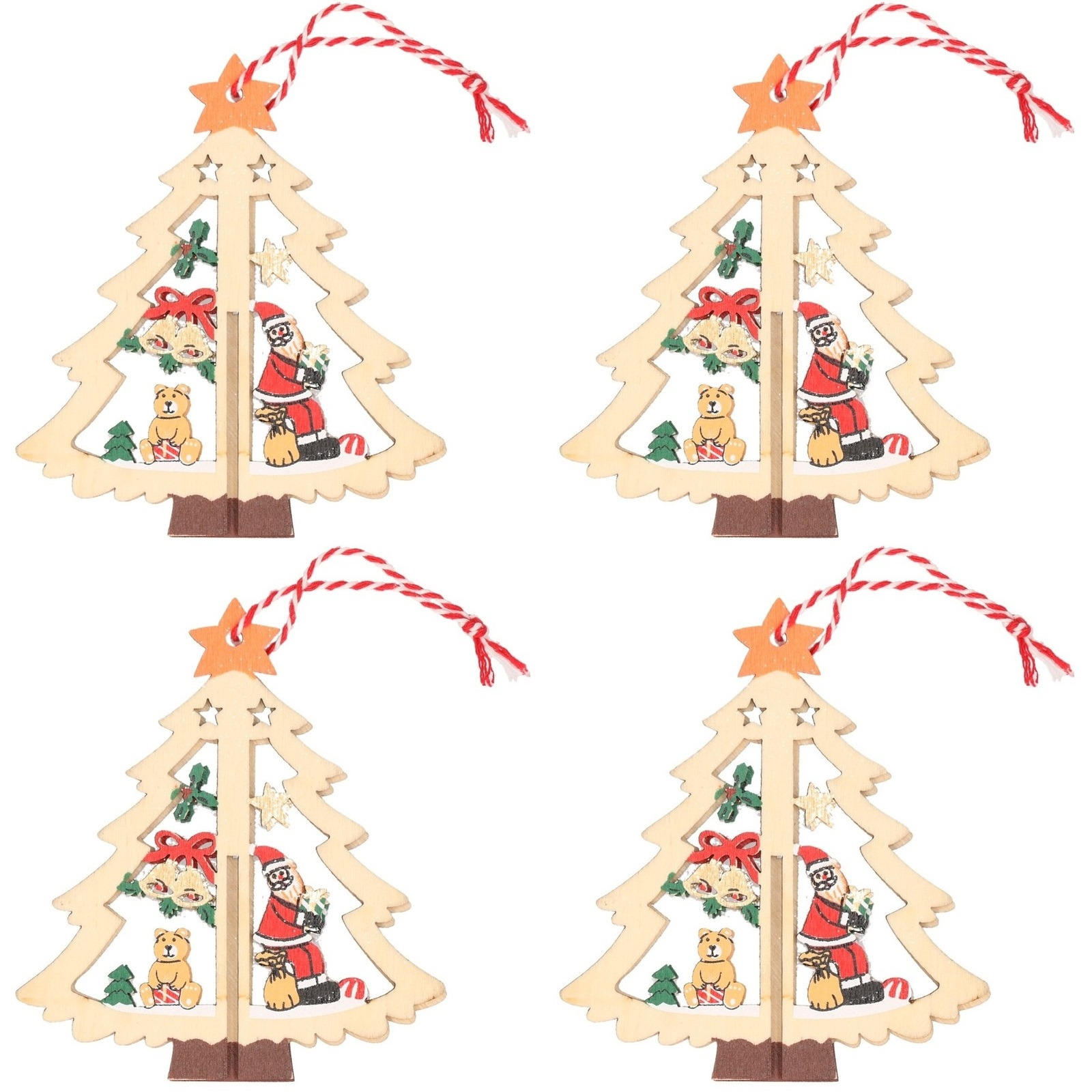 4x Kerst hangdecoratie kerstbomen met kerstman 10 cm van hout