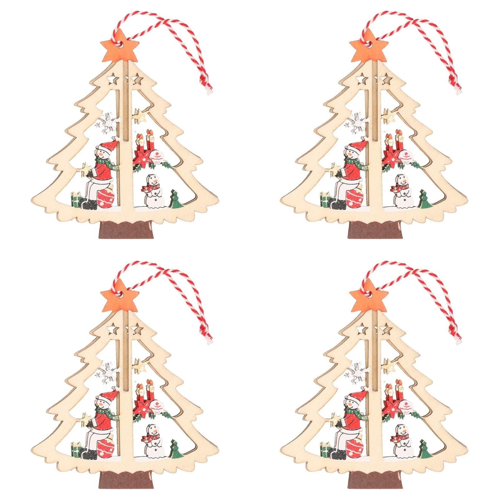 4x Kerst hangdecoratie kerstbomen met sneeuwpop 10 cm van hout