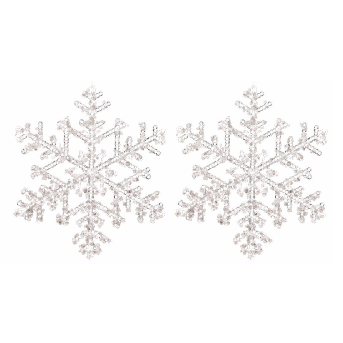 4x Kerstboomdecoratie hanger sneeuwvlok transparant 18 cm