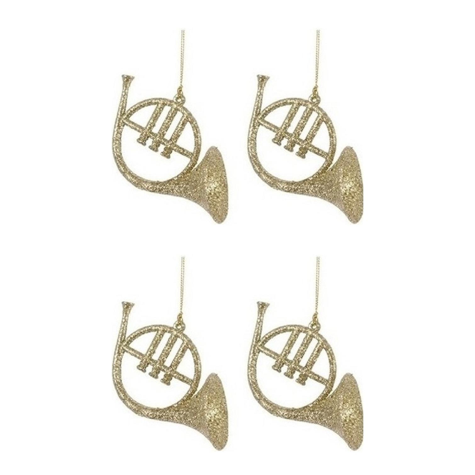 4x Kerstornamenten gouden glitter muziekinstrumenten 7 cm hoorns