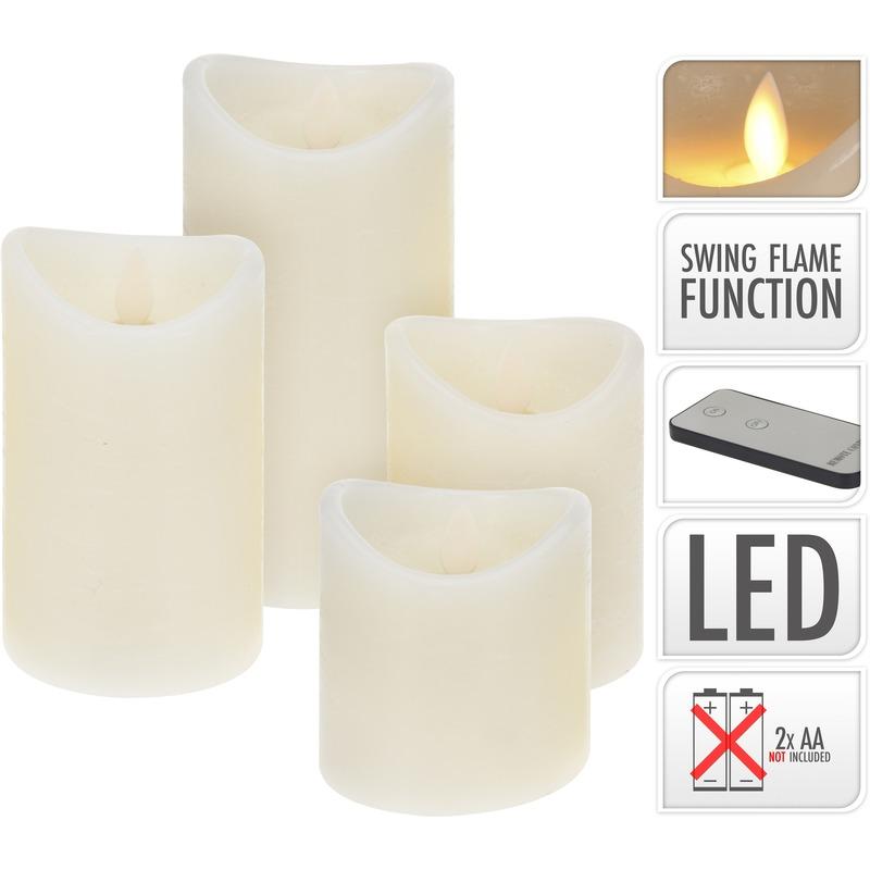 4x LED stompkaarsen met dansvlam op afstandsbediening