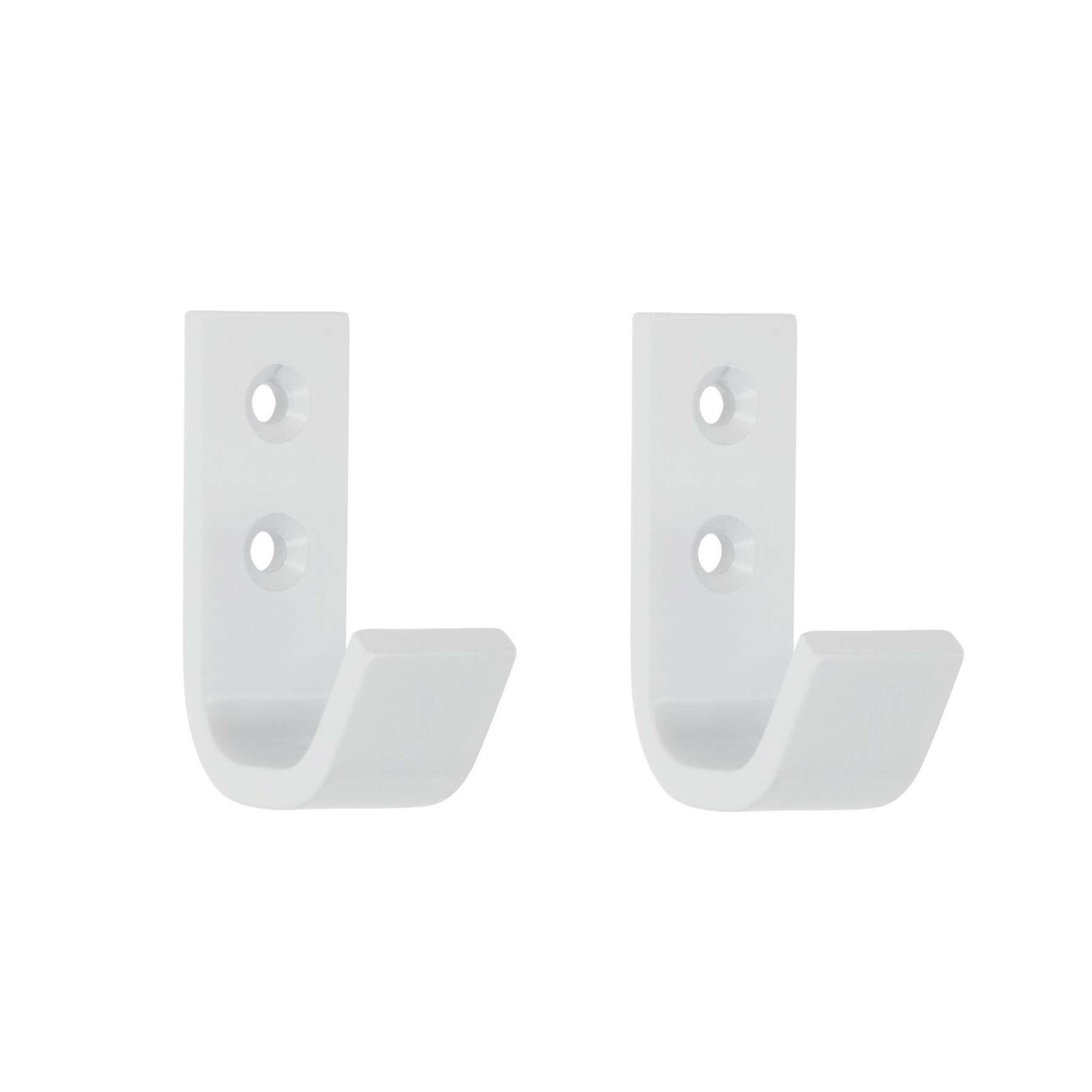 4x Luxe witte garderobe haakjes-jashaken-kapstokhaakjes hoogwaardig aluminium 5,4 x 3,7 cm