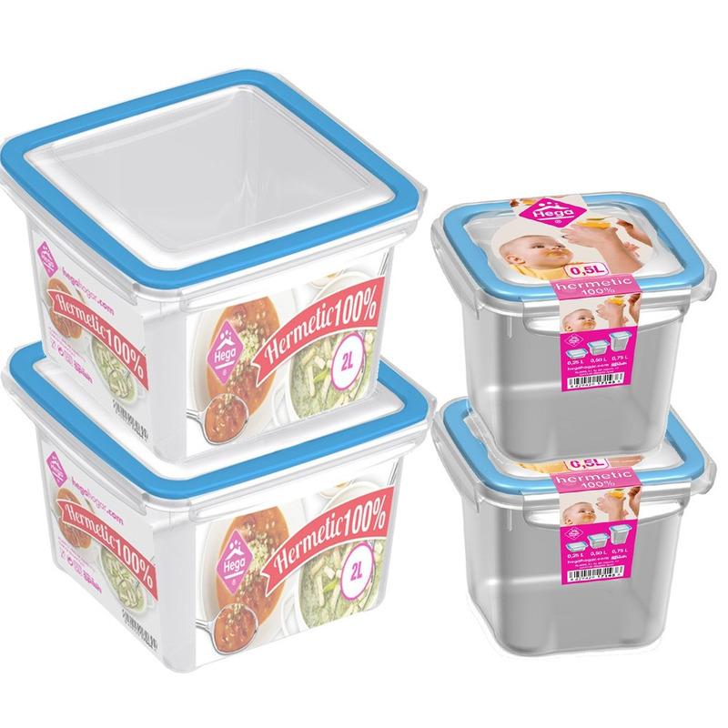 4x Voedsel plastic bewaarbakjes 0,5 en 2 liter transparant-blauw