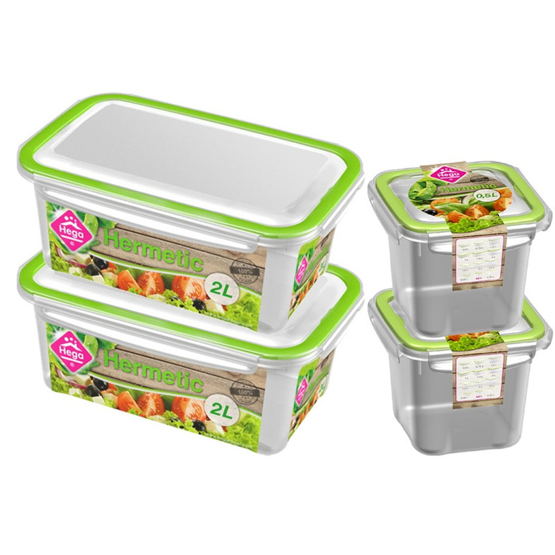 4x Voedsel plastic bewaarbakjes 0,5 en 2 liter transparant-groen
