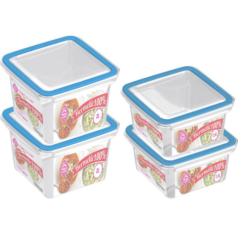 4x Voedsel plastic bewaarbakjes 1,5 en 2 liter transparant-blauw
