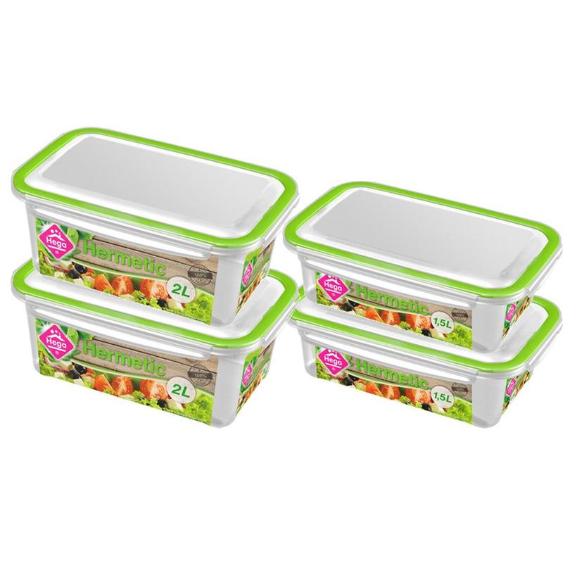 4x Voedsel plastic bewaarbakjes 1,5 en 2 liter transparant-groen