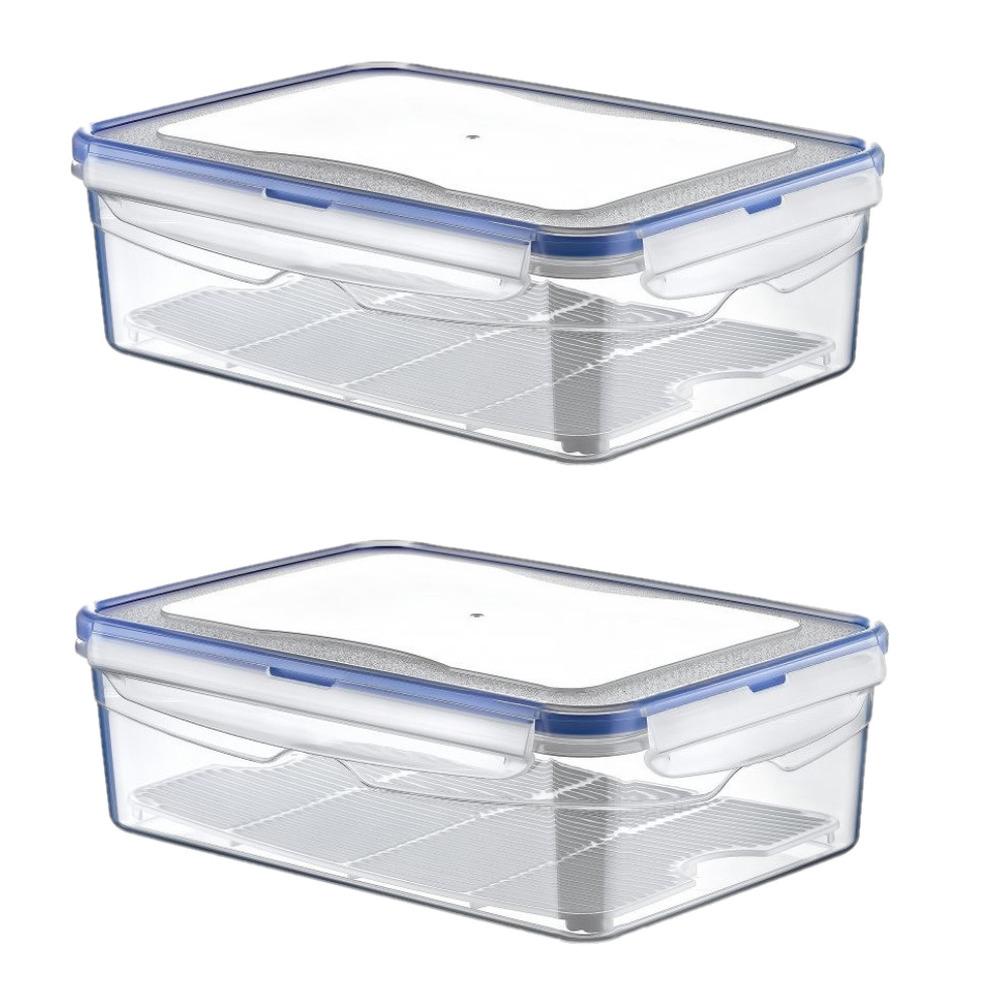 4x Voorraadbakjes-bewaarbakjes kunststof 2,6 liter