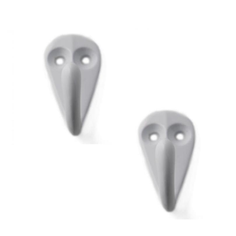 4x Witte garderobe haakjes-jashaken-kapstokhaakjes aluminium enkele haak 3,6 x 1,9 cm