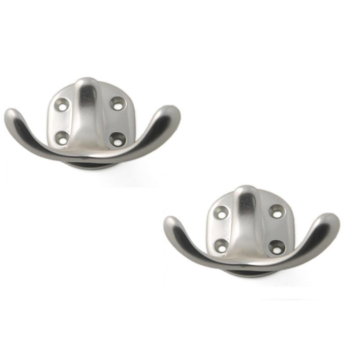 4x Zilverkleurig antieke garderobe haakjes-jashaken-kapstokhaakjes aluminium dubbele haak 5 x 7 cm