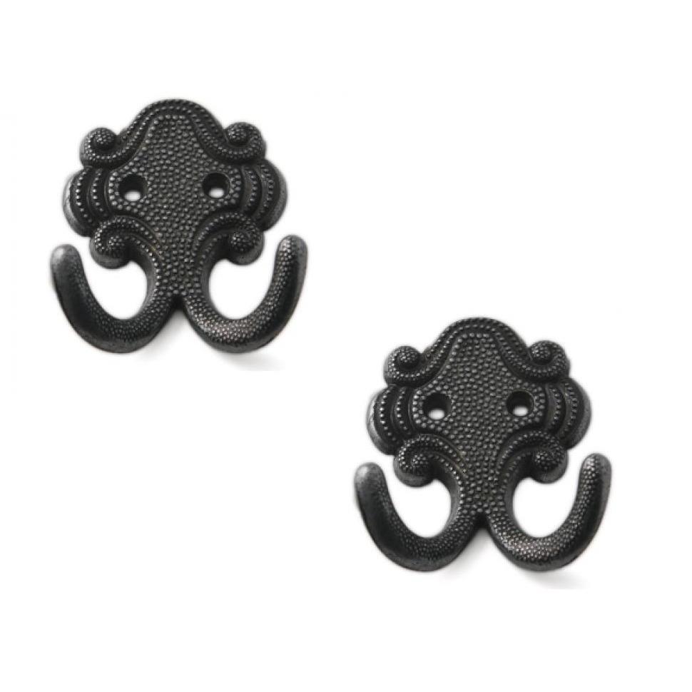 4x Zwarte garderobe haakjes-jashaken-kapstokhaakjes zamac dubbele haak 6,7 x 5,2 cm