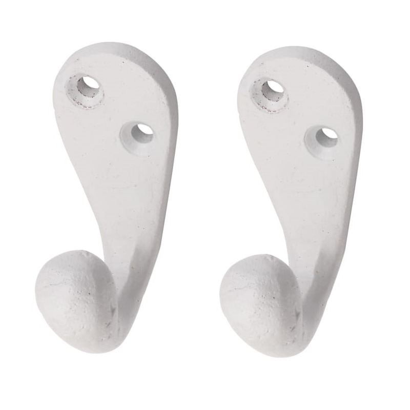 5x Witte retro garderobe haakjes-jashaken-kapstokhaakjes aluminium enkele haak 5,1 x 2,2 cm