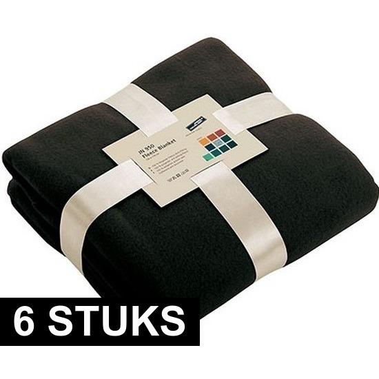 6x Fleece woondekens-woonplaids zwart 130 x 170 cm