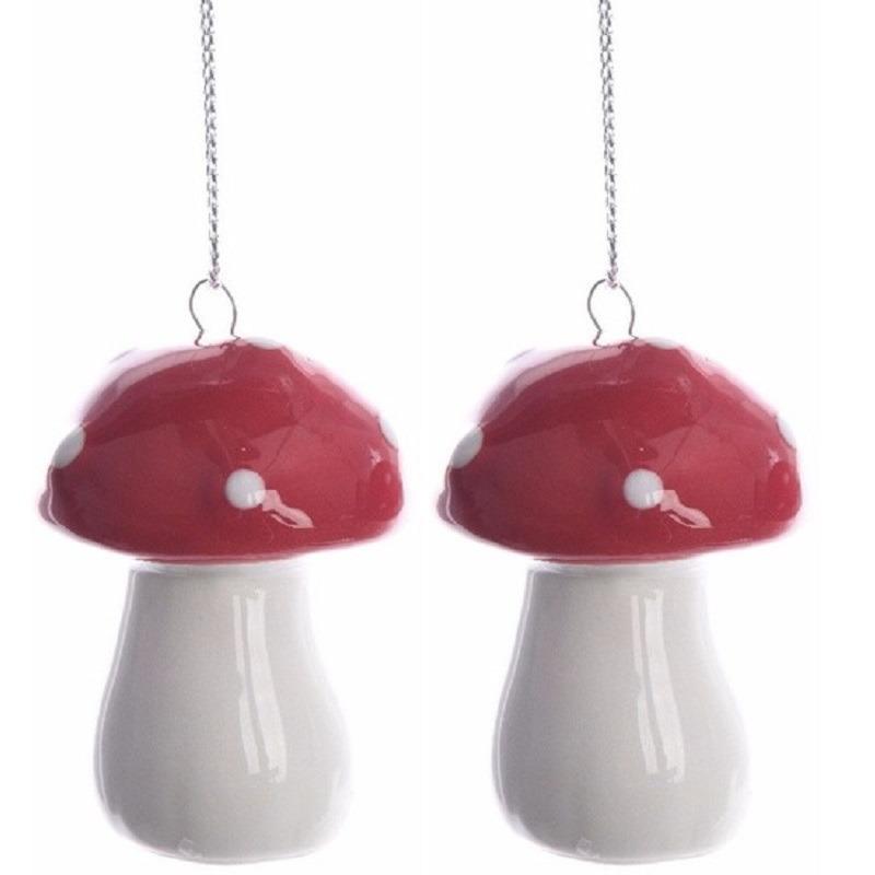 6x Kerstboomdecoratie hangers rood-wit paddenstoeltjes 4 cm