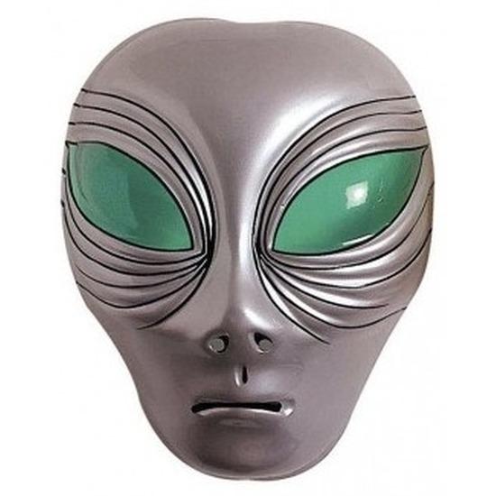 Alien gezichtsmasker zilver voor volwassenen
