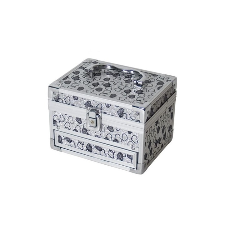 Aluminium sieradenkistje-make up koffer grijze 18 x 14 x 18 cm
