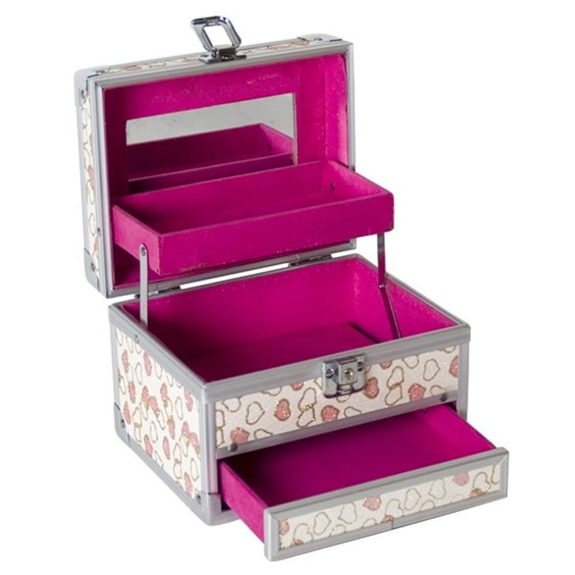 Aluminium sieradenkistje-make up koffer roze 18 x 14 x 18 cm