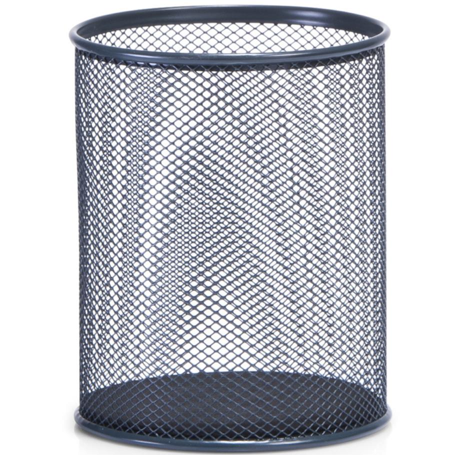 Antraciet grijze ronde pennenbakken van draadmetaal-mesh 11 x 13 cm