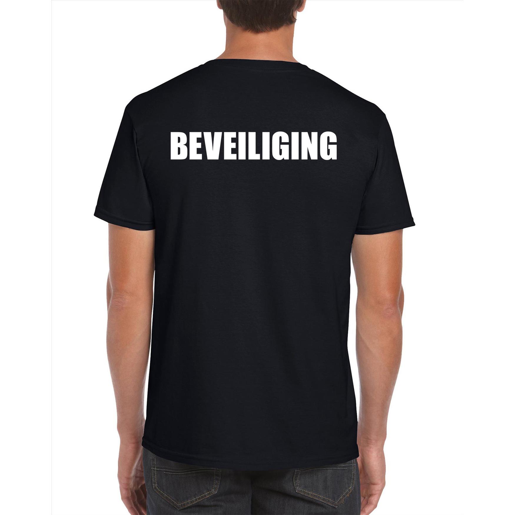 Beveiliging plus size t-shirt zwart voor heren