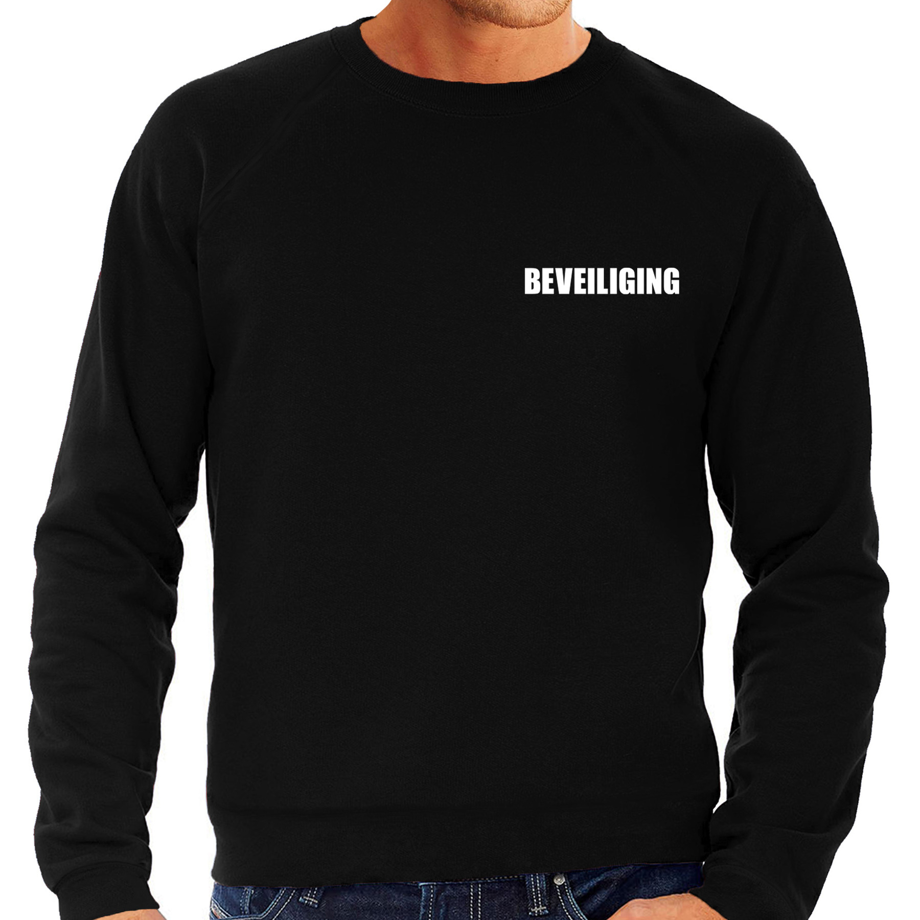Beveiliging sweater-trui zwart voor heren beveiliger