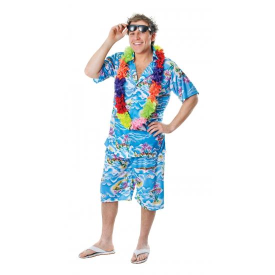 Blauwe Hawaii kleding voor heren