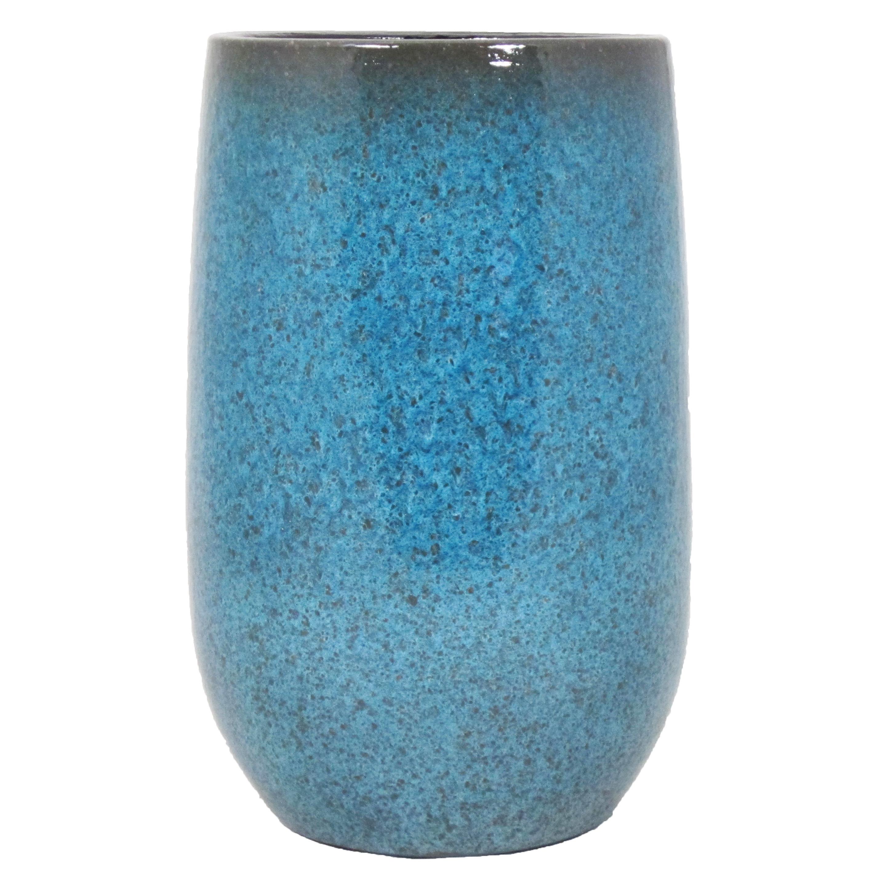 Bloempot vaas blauw flakes keramiek voor bloemen-planten H30 x D19 cm