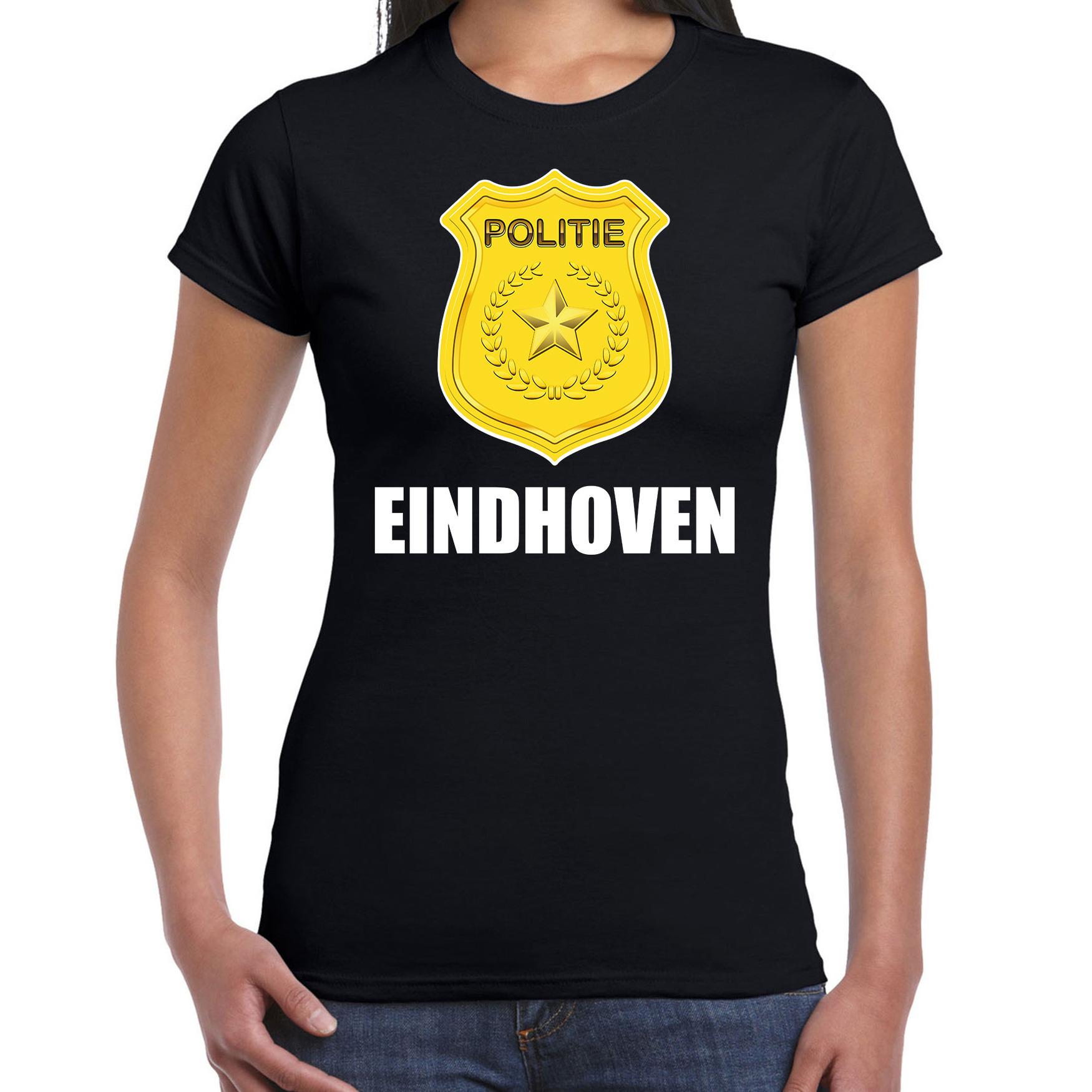 Carnaval shirt-outfit Eindhoven politie embleem zwart voor dames