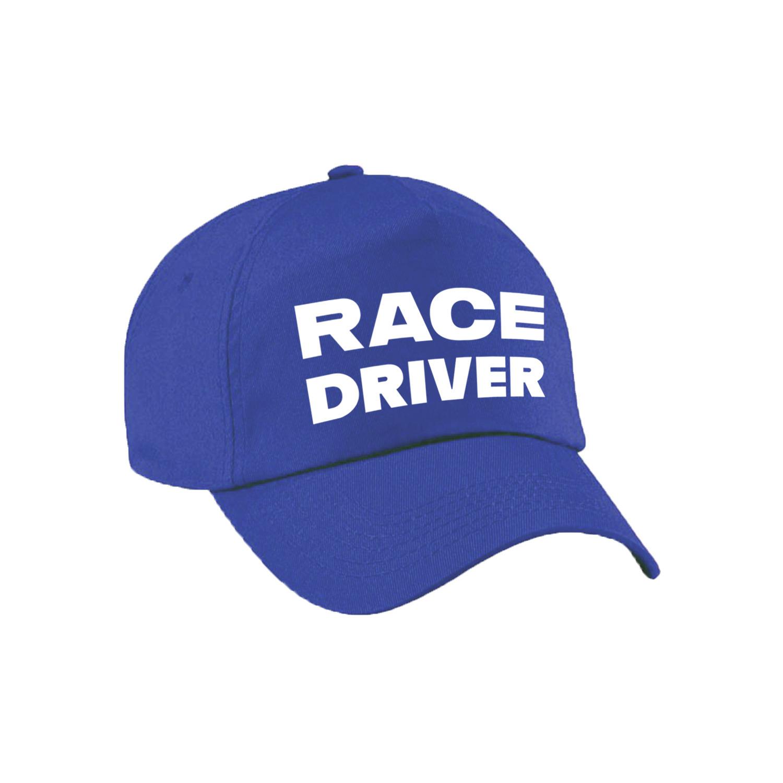 Carnaval verkleed pet-cap race driver-auto coureur blauw jongens en meisjes