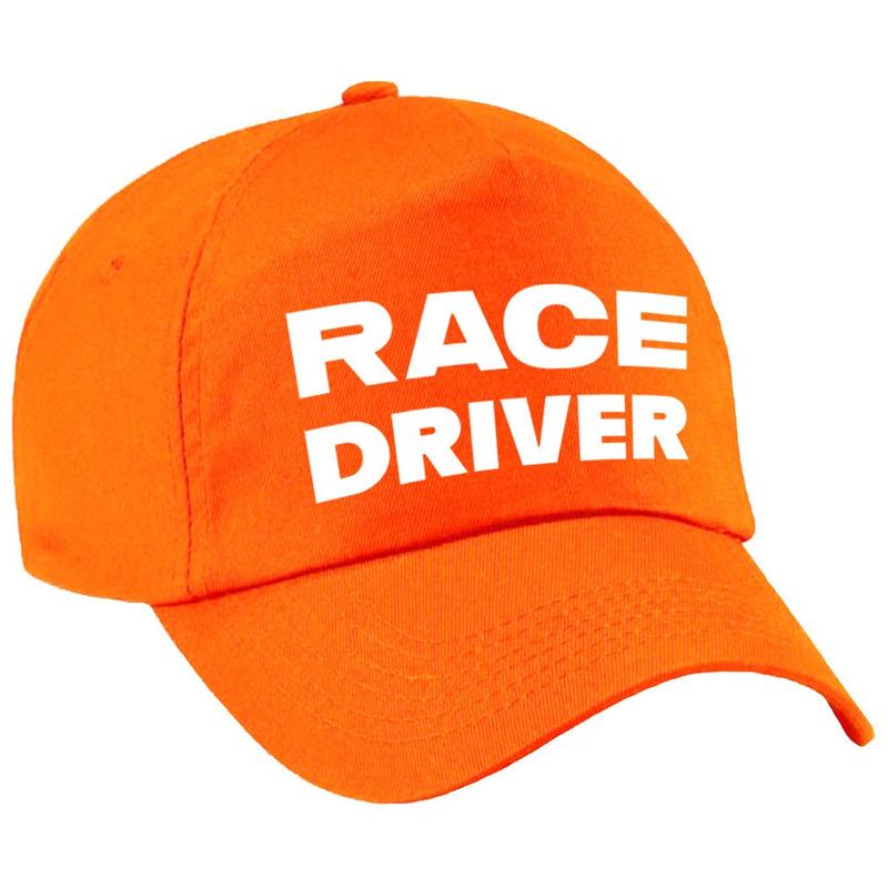 Carnaval verkleed pet-cap race driver-auto coureur oranje voor meisjes en jongens