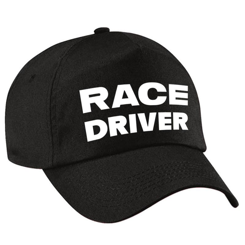 Carnaval verkleed pet-cap race driver-auto coureur zwart jongens en meisjes