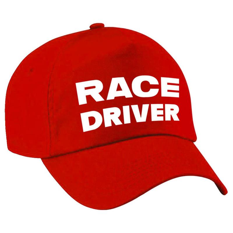 Carnaval verkleed pet race driver-auto coureur rood voor jongens en meisjes
