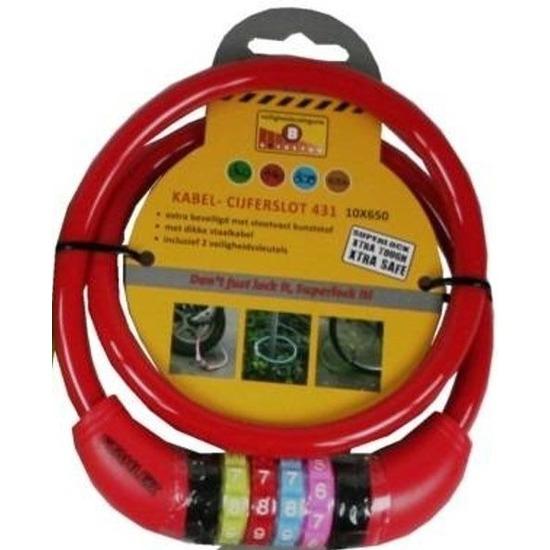 Cijfer kabelslot rood 10 x 650 mm