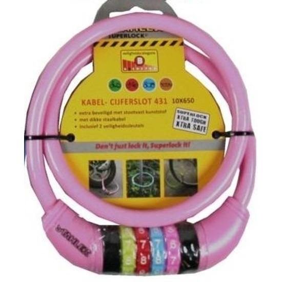Cijfer kabelslot roze 10 x 650 mm