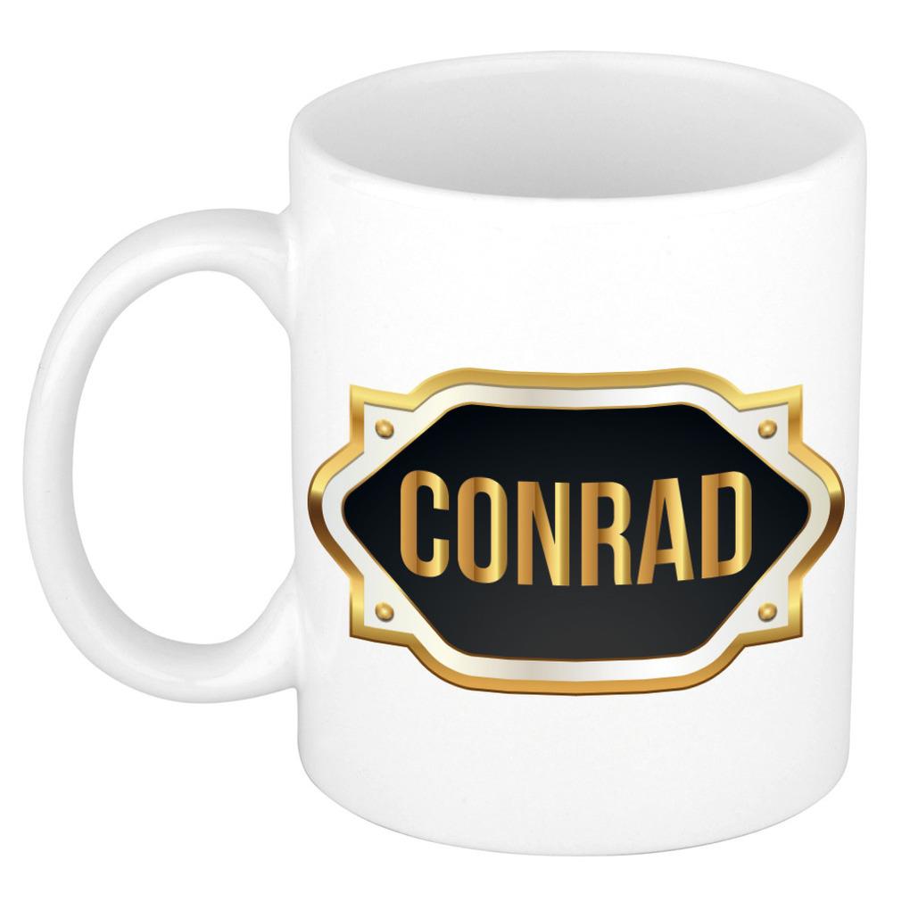 Conrad naam-voornaam kado beker-mok met embleem