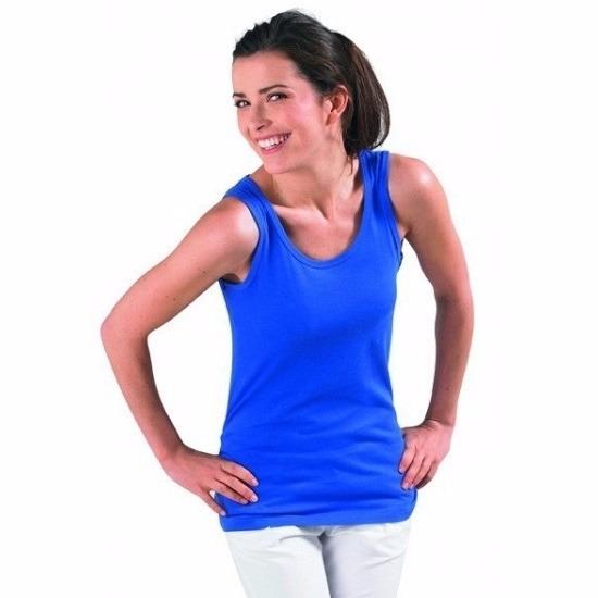 Dames mouwloos t-shirt blauw