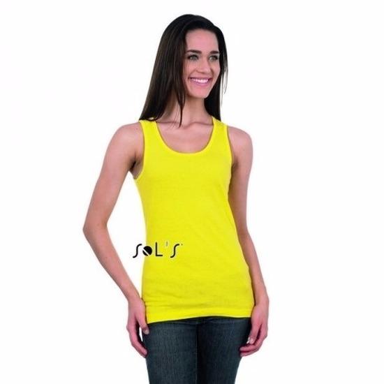 Dames mouwloos t-shirt geel