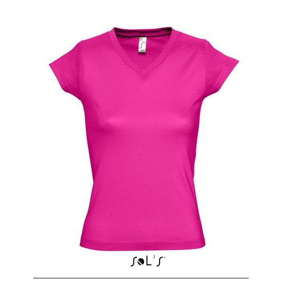 Dames t-shirts korte mouw fuchsia