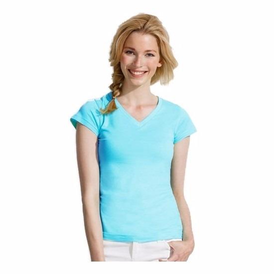 Dames t-shirts korte mouw lichtblauw